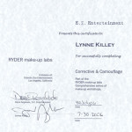 Ryder Entertainment - Certificate of Training Completion for facial blocking and camouflage make up application.